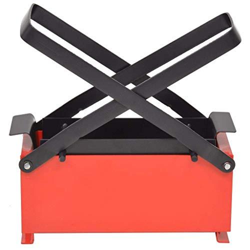 Vislone Brikettpresse Stahl Papierpresse Brikettpresse Umweltfreundlich Platzsparend Brikett Drücken 34 x 14 x 14 cm Schwarz und Rot