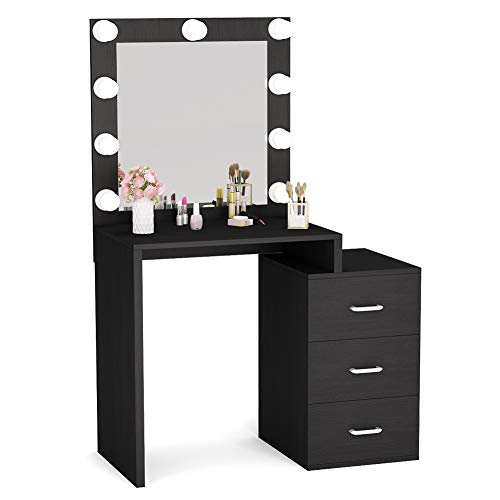 Read About Tribesigns Large Vanity Set with 9 Light Bulbs, Makeup Table with 3 Storage Drawers, Dres...