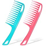 2 Pieces Wide Tooth Combs with Double Hanging Holes Detangling Hair Combs Straight Handle Wide Combs...