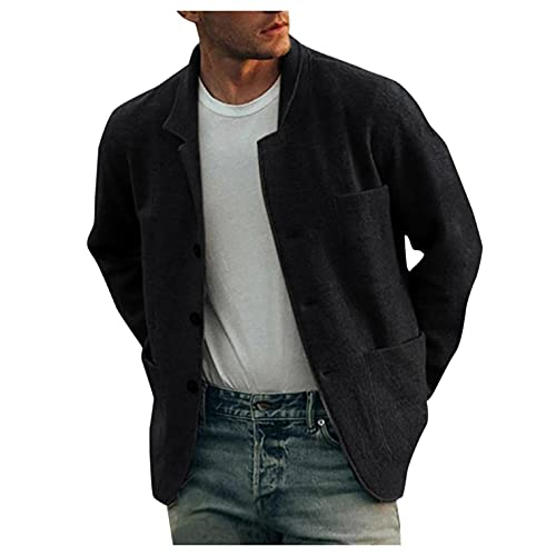 XUNFUN Men's Short Trench Coat Casual Wool Blend Notched Collar Single Breasted Solid Winter Warm Pea Coats Jackets Black