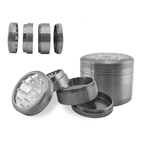 Hammercraft Herb Grinder 4 Piece 2.2in Clear Magnetic Aluminium – (Silver)