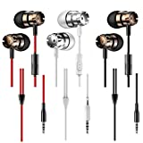 3 Pack Earbuds with Microphone,Noise Isolating in Ear Headphones,High Definition,Compatible with iOS and Android Smartphones, Laptops, Gaming,Fits All 3.5mm Interface Device.