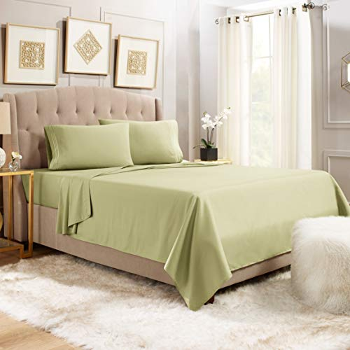 """Empyrean Bedding Queen Sheets - 4 Piece Bed Sheets Queen Set - Premium Soft Sheets for Queen Size Bed - 14-16"""" Queen Size Sheets Set - Breathable Microfiber Queen Sheet Set - Sage Olive Green"""