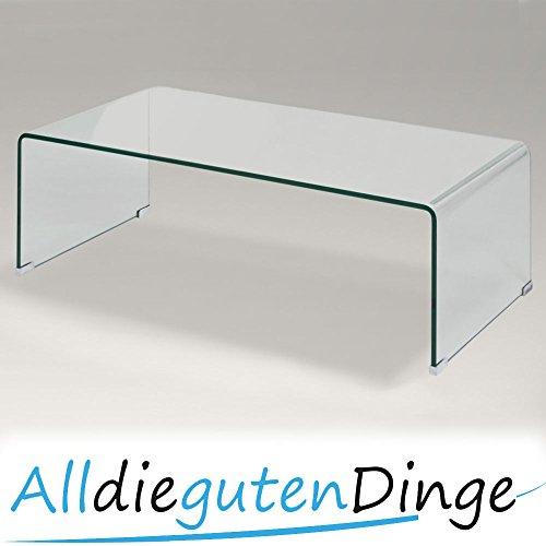 Design Glastisch Couchtisch Echtglas gebogen Vollglas Länge 110 cm