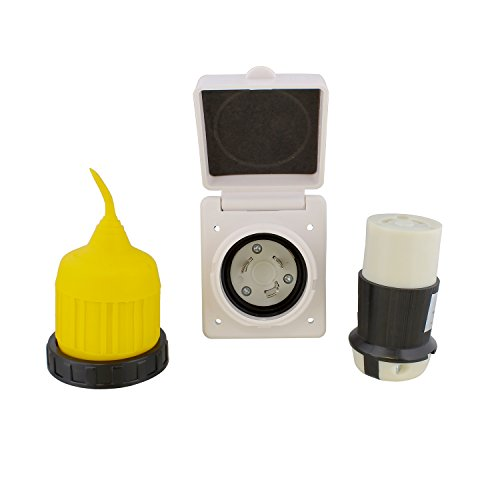 ABN Outdoor Marine Electrical Power Male Inlet Socket Box Kit 30A 125V w/ Connector, Twist Lock Plug Cord Cover, Ring