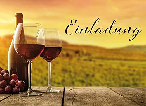 Uitnodigingskaart - wijnglazen, dwars - 10,5 x 14,5 cm