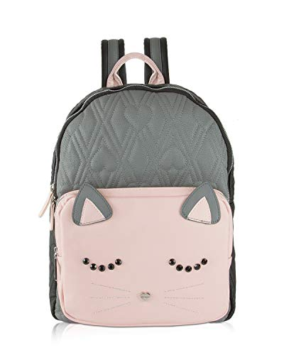 Betsey Johnson Large Quilted Kitch Sleeping Cat Face Backpack Tote Bag - Grey Multi
