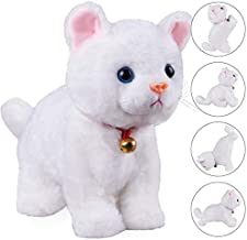 White Plush Cat Stuffed Animal Interactive Cat Robot Toy, Robotic Cat Barking Meow Kitten Touch Control, Electronic Cat Pet, Robot Cat Kitty Toy, Animated Toy Cats for Girls Baby Kids L:12