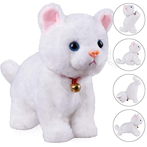 """White Plush Cat Stuffed Animal Interactive Cat Robot Toy, Robotic Cat Barking Meow Kitten Touch Control, Electronic Cat Pet, Robot Cat Kitty Toy, Animated Toy Cats for Girls Baby Kids L:12"""" H:8"""""""