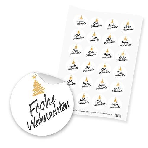 itenga 24x Sticker Aufkleber Motiv Frohe Weihnachten Schrift Tannenbaum Adventskalender Geschenke Dekoration Schwarz Weiß Gold