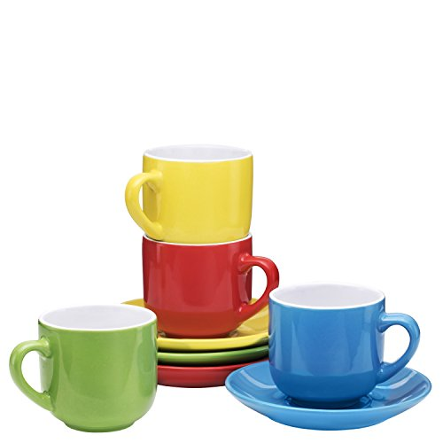 Espresso Cups with Saucers by Bruntmor - 4 ounce - Multi-Color - Set of 4