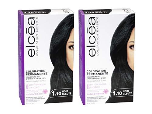 Coloration Cheveux Permanente Elcea 1.10 Noir Bleuté Lot de 2 Kits.