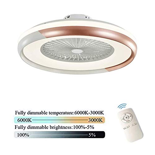 Ventilador de techo invisible con mando a distancia, luz LED, velocidad de viento ajustable, lámpara de techo moderna para Quiet Fan dormitorio salón comedor iluminación, gris, LQH