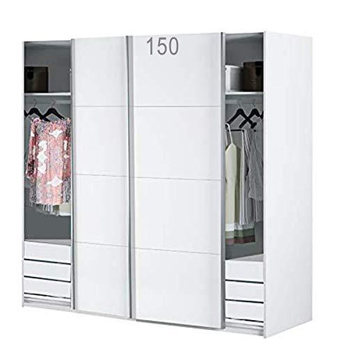HABITMOBEL Armario Dormitorio Blanco 204 Puertas corrs, con Fondo Especial DE 60cm (CAJONERAS Incluidas) edera