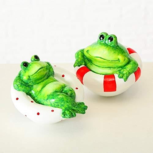 Home Collection Garten Deko Schwimmtier Schwimm Frosch 2er Set Sortiert H11cm D13cm grün Terrakotta
