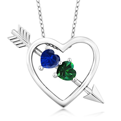 0.96 Ct Blue Simulated Sapphire Green Simulated Emerald Silver Heart & Arrow Pendant