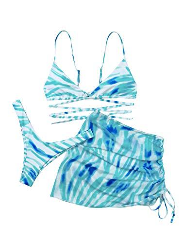 SOLY HUX Women's Tie Dye Wrap Bikini Bathing Suits with Mesh Beach Skirt 3 Piece Swimsuits Blue White S