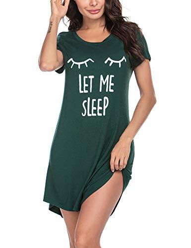 MAXMODA Damen Nachthemd Printed Kurzarm Scoopneck High Low Sleep Tee Nachtwäsche S-XXL