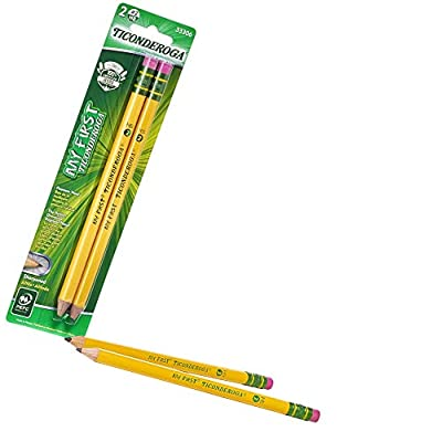 TICONDEROGA My First Pencils, Wood-Cased #2 HB Soft, Pre-Sharpened with Eraser, Yellow, 2-Pack (33306)