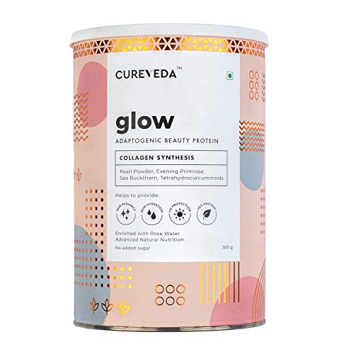 Cureveda Glow Plant Based Collagen Veg and Natural Beauty Collagen Protein Powder for Men and Women – Pearl powder, Evening Primrose, Vitamin E, Sea Buckthorn, Grape Seed 300 gm