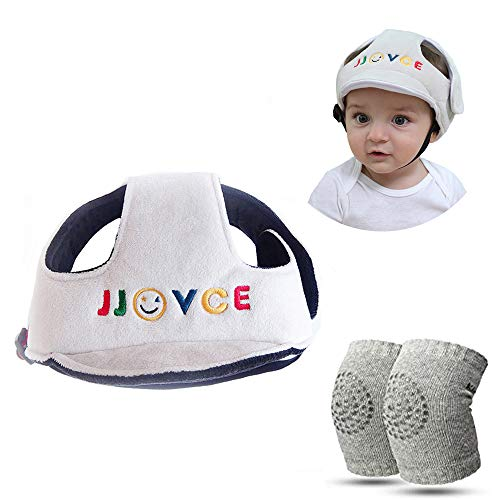 Baby Infant Schutzhelm Kopfschutzhut Verstellbarer Sicherheitskopfschutz mit krabbelnden Knieschützern für Kleinkinder Anti-Rutsch-Babyknieschutz - Baby Creep Gehschutzset, Grau