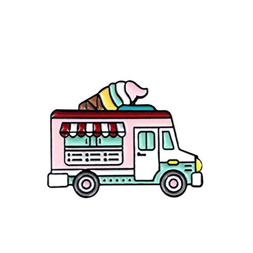 Bunte mobile Eiscreme Verkauf Auto Design Tropf Brosche Kinder Rucksack Hut Abzeichen Pin Schmuck Kreative All-Match-Schmuck