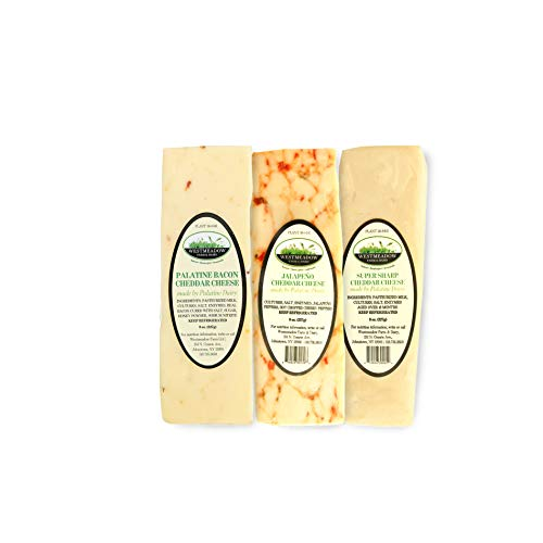 """Westmeadow Farm """"Bold"""" Artisan Cheese Bundle - Bacon Flavored Cheddar Cheese, Jalapeno Flavored Cheddar Cheese, and Super Sharp Cheddar Cheese (24 oz)"""