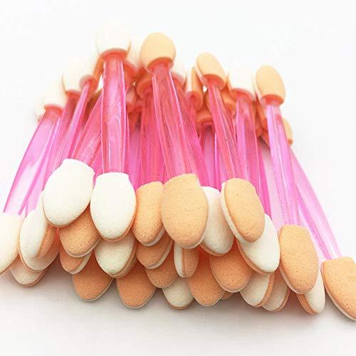 50 Pcs Éponge Bâton Ombre À Paupières Applicateur Cosmétique Maquillage Outils Double-tête Fard À Paupières Brosse Pour Les Femmes Maquillage Outil-50 PCS-Rose