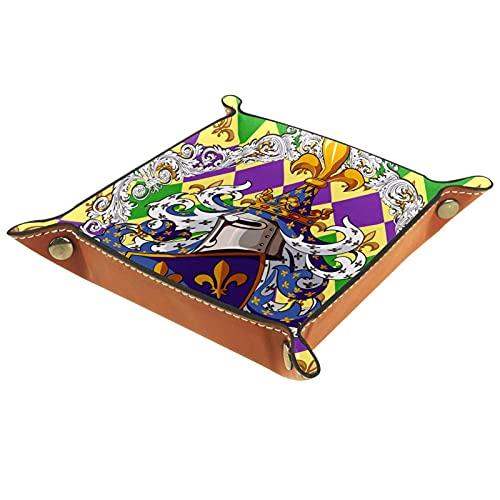 YATELI Caja de Almacenamiento pequeña, Bandeja de Valet para Hombre,Art Caballero Guardián,Organizador de Cuero para Llaves de Caja de Monedas