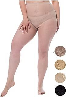 Women 2 Pack Thin Super Elastic Sheer Pantyhose Tights Reinforced Anti-run Stockings Plus Size 140~270 lbs