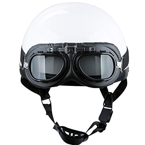 MOTUO Motorrad Halbe Helm für E-Bikes und Scooter Mofa Helm Retro Vintage Style,Weiß