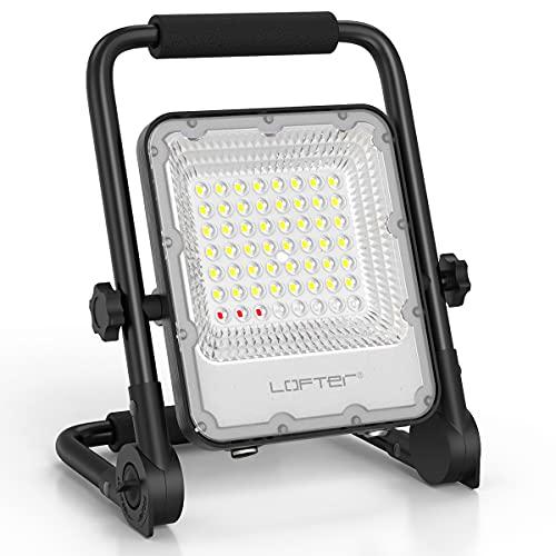 Rechargeable Cordless LED Work Light, LOFTer 30W 6000mAh Portable LED Camping Light,IP65 LED Flood Light Inspection Lamp for Inside or Outside Jobsite Workshop and Construction Site Lighting, 6500K