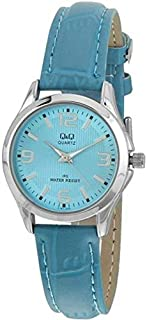 Q&Q Women's Blue Dial Leather Band Watch - C193J335Y