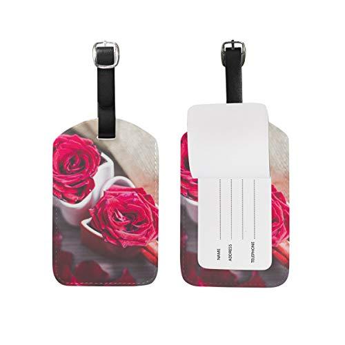 Liebe Kaffeetasse Rose Reiseleder Gepäck Kofferanhänger Label 2er Set
