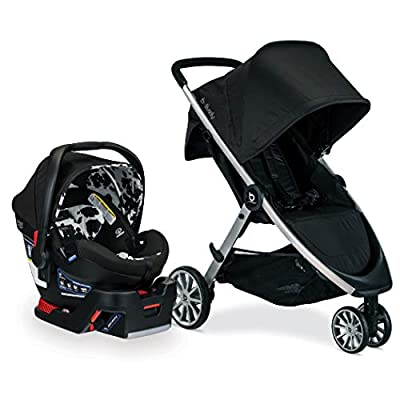 Britax B-Lively Travel System with B-Safe Ultra Infant Car Seat, Cowmooflage - Birth to 55 Pounds