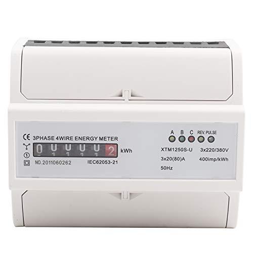 Multifunktions Energiemessgerät XTM1250S-U Digitales 3 Phasen 4 Draht KWh Meter DIN Schienen 6-Stelliges Stromzähler 20 (80) A