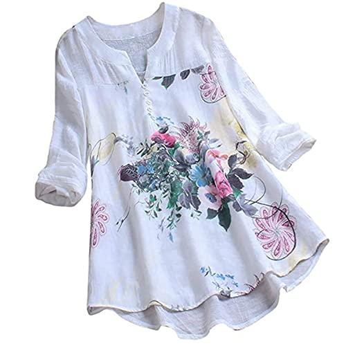 Tops Damen Oversize Langarm/Kurzarm Elegant Hohe Qualität Atmungsaktiv Drucken V-Ausschnitt Exquisite Tasten Damen Shirt Frühling Sommer Täglicher Verschleiß Damen Bluse A-White XL