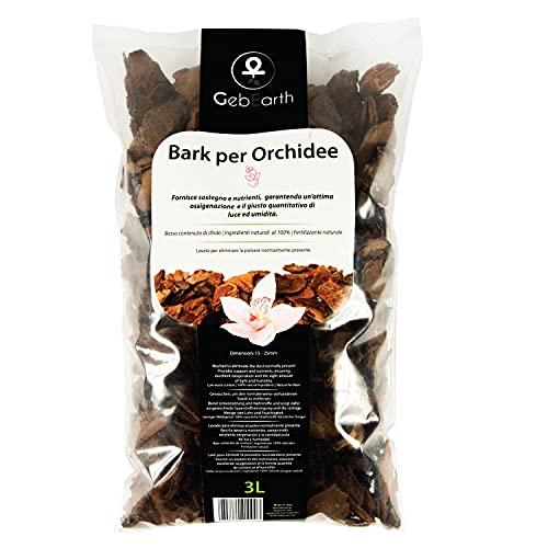 GebEarth - Bark per Orchidee, Substrato, Corteccia per Orchidee 3LIdeale per il rinvaso di tutte le Orchidee