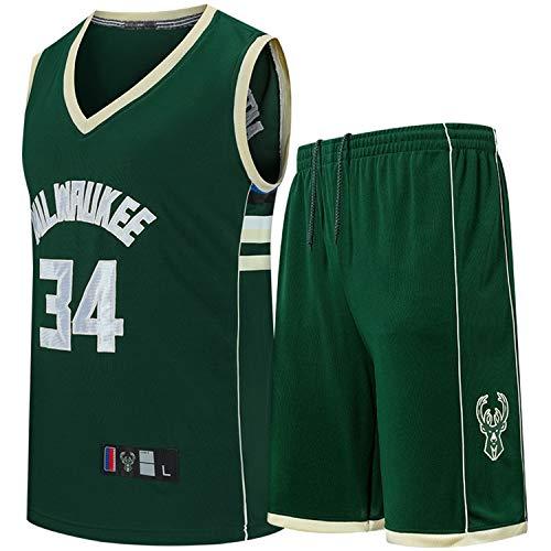 LDHY NBA Bucks #34 - Completo da basket ricamato in jersey con maglietta e pantaloncini da basket estivi in poliestere S-3XL Blu L