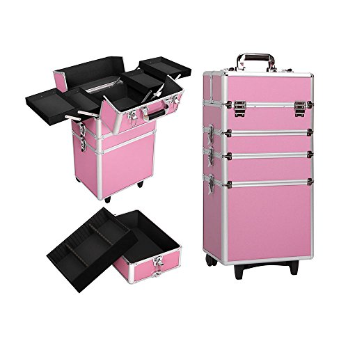 Caja cosmética móvil tipo carretilla/caja cosmética/4 en 1/estuche cosmético portátil /, para interior y exterior, 2 llaves, color negro, Pink (Rosa) - GT73553881-7698-1640288291
