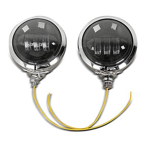"""LED Zusatzscheinwerfer Set 4,5\"""" für Chopper Cruiser Custombikes Chrom-schwarz"""