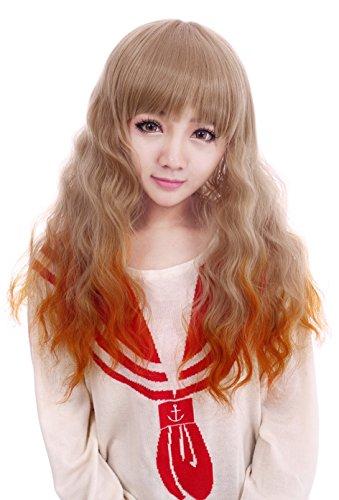 Prettyland C182 - Perruque Femme Blonde Longue Ondulée Pointes Diy Dye Oranges 60cm