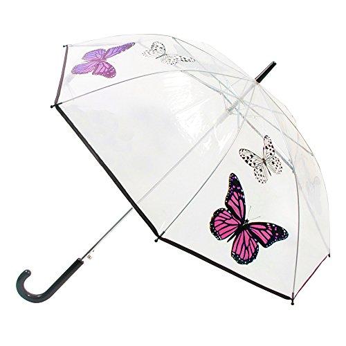 Damen Regenschirm, durchsichtig, mit Schmetterling-Design, automatisch zu öffnen (One Size) (Rosa...