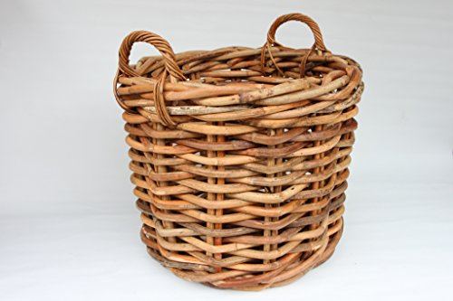 Pflanzkorb aus Rattan, Rattankorb rund groß (ca. 60cm), grobes Geflecht, Holzkorb, Kaminholzkorb