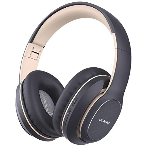 BLARO Bluetooth Headphones Over Ear, Hi-Fi Deep Bass Wireless and Wired Headsets, 72 Hours Playtime, Soft Memory Protein Earmuffs, Foldable Headphones with CVC6.0 Mic-Grey
