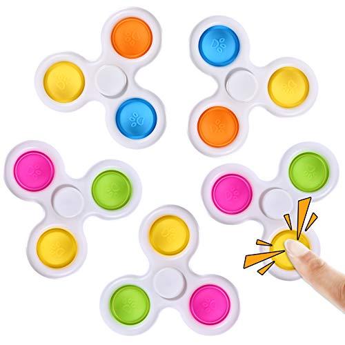 SCIONE Simple-Dimple Fidget Toys 5 Pack,Pop-Bubble Fidget Spinners, Pop-it Fidget Top-Stress Relief for Kids &Adults-Motor Skill Development Intensive Learning Toy Adults Simple Office Desk Toys