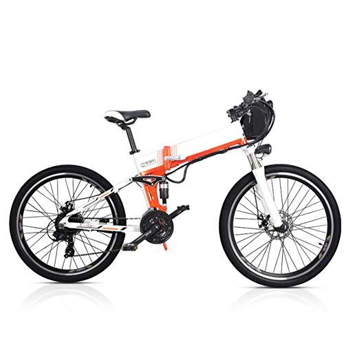 Bicicleta Eléctrica Montaña Plegable, 26 Pulgadas Bicicleta Eléctrica Conmutar para Adultos Que Viaja Estilo Opcional de Doble Batería Duración de la Batería de hasta 180 km,Blanco,A (Dual Battery)