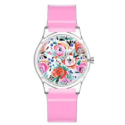 ULTECHNOVO Kinderuhr wasserdichte Uhr Süße Blumen Armbanduhr Japanische Bewegung Armbanduhr Mädchen Plastikuhr (Pink)