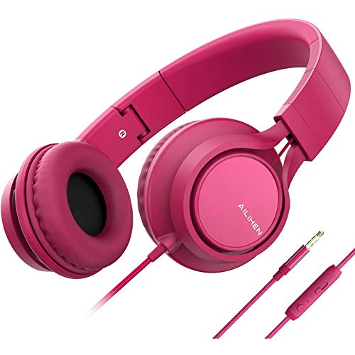 AILIHEN C8 (Upgraded) Headphones with Microphone and Volume Control Folding Lightweight Headset for Cellphones Tablets Smartphones Chromebook Laptop Computer PC Mp3/4 (Rose)