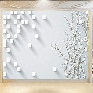 Bloque blanco Plum Blossom Art Print Pintura de pared Póster Imagen Foto Impresión en HD para sala de estar Dormito papel pintado pared dormitorio de estar sala de estar fondo No tejido-400cm×280cm